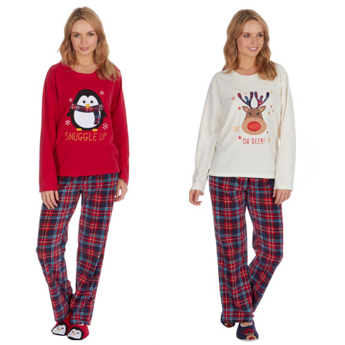 Ladies Christmas Pyjama Set with Slippers