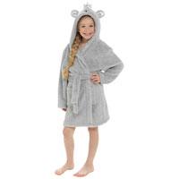 Kids Fleece Robe With Bear Hood And Crown