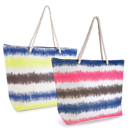 Fluro Print Stripe Bag With Rope Handle