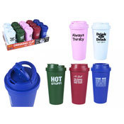 Slogan Double Wall Insulated Drinking Cup With Lid