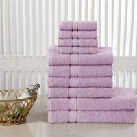 10 Piece Luxury Towel Bale Set With Ribbon Blush