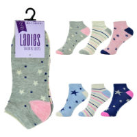 Ladies 3 Pack Trainer Socks Stars And Stripes