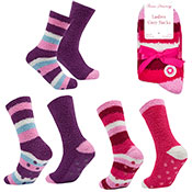 Ladies Cosy Socks With Grippers Stripe Pink/Purple