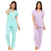 Ladies Pyjama Set Purple/Green Stripe
