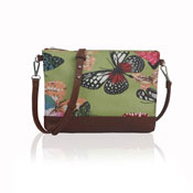 Ladies Butterfly Canvas Mini Crossbody Bag Green