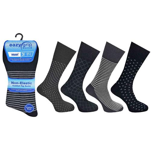Mens Eazy Grip Non Elastic Socks Black Mix