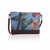 Ladies Butterfly Canvas Mini Crossbody Bag Blue