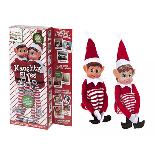 Vinyl Head Elf In Red Clothes 2 Pack