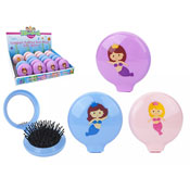 Mermaid Folding Brush With Compact Mirror