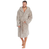 Mens Frosted Sherpa Hooded Gown Camel