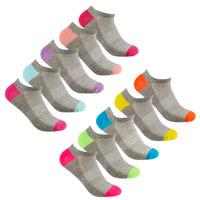Ladies 5 Pack Mesh Insert Trainer Socks Colour Heel