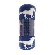 Blue Horse Design Fleece Blanket Throw