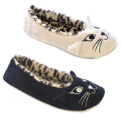 Ladies Cat Face Ballet Slipper with Leopard Inner