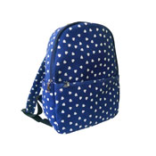 Single Pocket Heart Backpack Navy Blue