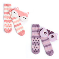 Ladies Cosy Owl/Fox Socks and Eye Mask Set