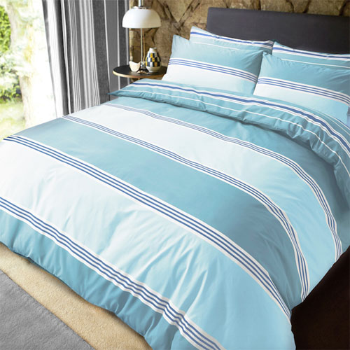 Banded Stripe Teal Reversible Duvet Set