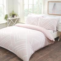 Striped Geometric Duvet Set Blush