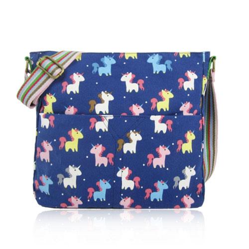Unicorn Canvas Crossbody Bag Dark Blue