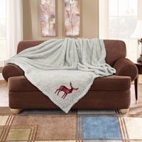 Stag Embroidered Soft Teddy Feel Throw Cream