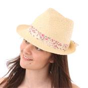 Ladies Straw Hat with Fancy Trim