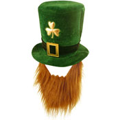 St Patrick's Day Deluxe Velvet Shamrock Hat With Beard