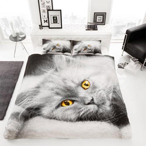 Cat Panel Reversible Duvet Set