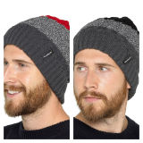Mens Striped Beanie Hat With Thermal Lining