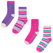 Girls Cosy Socks With Gripper Assorted