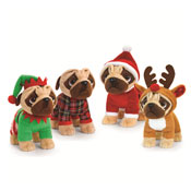 25cm Standing Christmas Pugsley Assorted Soft Toy