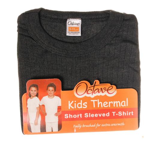 Kids Thermal Underwear T Shirt Short Sleeved Grey