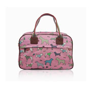 Ladies Dog Day Canvas Weekend Bag Pink
