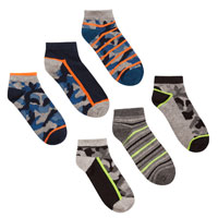 Boys 3 Pack Camo Design Trainer Socks