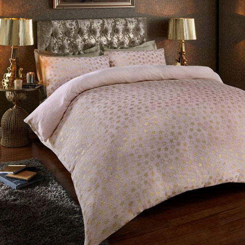 Super Soft Metallic Star Duvet Set Pink/Gold