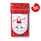 Let It Snow Christmas Double Oven Gloves