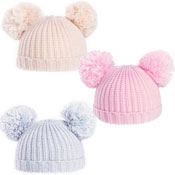 Baby Soft Knit Double Pom Pom Bobble Hat