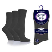 Ladies Gentle Grip Socks Plain Grey