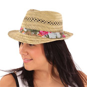 Ladies Straw Trilby Hats
