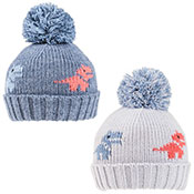 Boys Dinosaur Knitted Bobble Hat