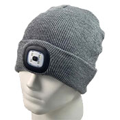 Adult Grey Beanie Hat With LED