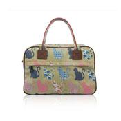 Ladies Kitty Day Canvas Weekend Bag Beige