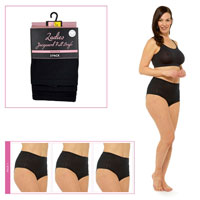 Ladies 3 Pack Pointelle Briefs Black
