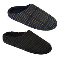 Mens Open Back Checked Slippers