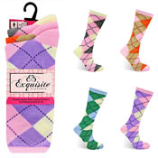 Ladies Exquisite Computer Socks Pastel Argyle