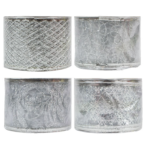 Christmas Silver Wired Ribbon