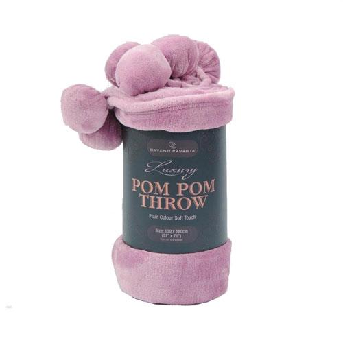 Pom Pom Faux Mink Throw Pink