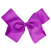 On Trend Fashion Hair Bow With Salon Style Clip Purple