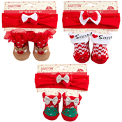 Baby Christmas Gift Socks and Head Band Set
