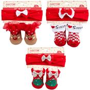 Baby Christmas Gift Socks and Head Band Set