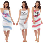 Ladies Striped Slogan Printed Nightie