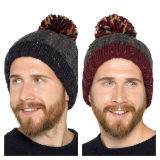 Mens Fleece Lined Pom Pom Hat